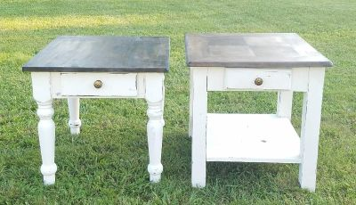 2 MATCHING FARMSTYLE DARK STAINED NIGHTSTANDS / ENDTABLES ($75 EACH)