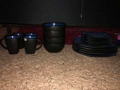 Blue & Black Dish Set