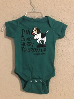 I m In No Hurry To Grow Up Bass Pro Shop Green Onesie Playsuit. Nice Condition. Size Newborn