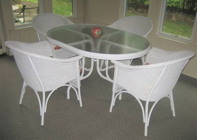 White Rattan Patio Set - Oval Glass Top Table and 4 Chairs
