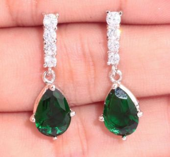 New - Green Emerald Quartz and White Zircon Earrings