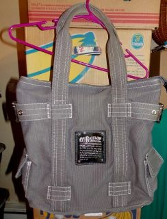 """C O BIGELOW APOTHECARY GRAY CANVAS LARGE SHOULDER BAG TOTE 17"""" W X 14"""" L not including shoulder strap"""