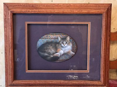 Main Coon picture in oak frame