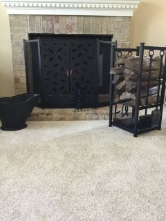 Fireplace tool set with screen, ash bucket & more