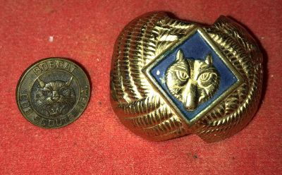 Vintage Boy Scouts Bobcat pin and slide scarf tie holder