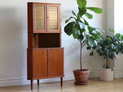 Mid Century Modern Stained Glass Corner Cabinet