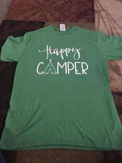 Medium green happy camper tshirt - ppu (near old chemstrand & 29) or PU @ the Marcus Pointe Thrift Store (on W st.)
