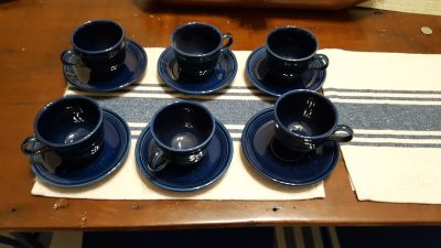 Cobalt blue Fiesta cup and saucers