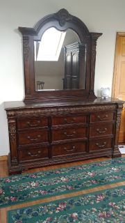 Master Bedroom Set 7pc, with ornate detail.