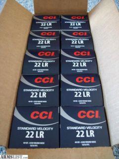 For Sale: 5000 Rds CCI Standard Velocity 22LR case