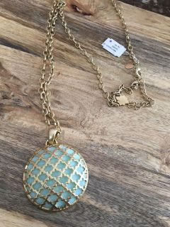 Beautiful long chain teal and gold pendant. From the Kiam Collection