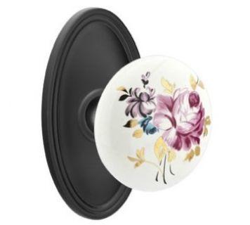 Emtek Porcelain Door Knob with Brass Rosette | Locking hardware
