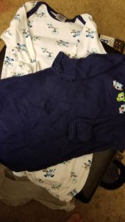 Two sleep gowns 0-6 months navy with puppies