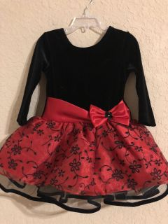Bonnie Jean Black And Red Velvet/ Christmas Dress. Gorgeous Size 2T