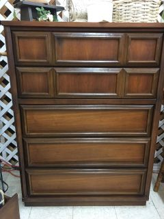 Bedroom Chest 5 Drawers Wood MCM