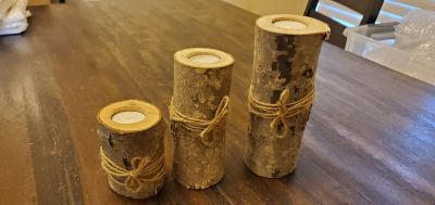 Set of 3 Rustic Candle Holders