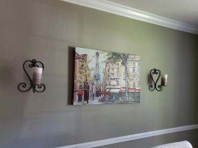 Paris wall decor, 2 iron candle holders, 2 candles