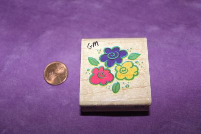 Wooden Rubber Stamp: Floral Bouquet
