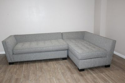 Tufted Light Gray Sectional sofa