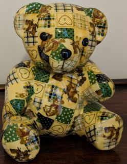 Vintage Ceramic Decoupage Teddy Bear
