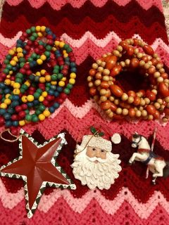 Wood Beaded Garlands & Misc Old World Ornaments