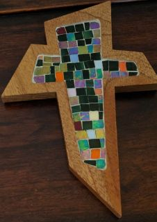 Handcrafted Mosaic Wooden Cross Made In Costa Rica