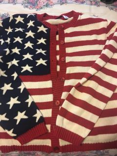 Ladies USA sweater. Brand is Cherokee. Size medium.