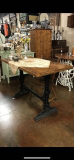 English antique pub table with cast iron base