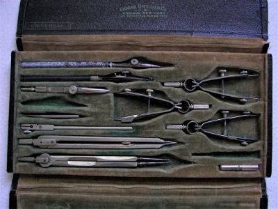 VINTAGE EUGENE DIETZGEN DRAFTING TOOLS WITH CASE - 11 Pcs - GOOD COND