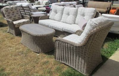 """Wicker""Outdoor Sofa, 2 Chairs, Cocktail & Side Table"