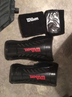 Shin guards and wristbands w/plastic pocket