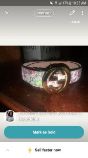 monogrammed white, pink, and green Gucci leather belt