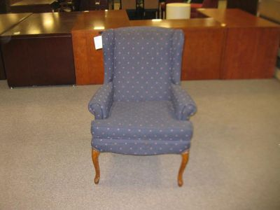 $125, wingback seating blue side chair