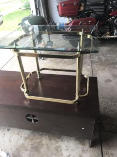 Glass top gold end table