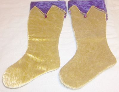 "Big new Christmas velvet stockings in Gold and Purple 24"" long Lined"