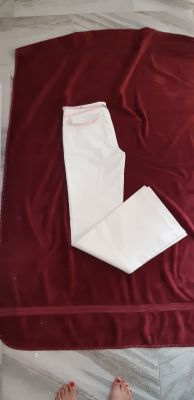 BNWOT Unique white cotton wrinkle free dress pant by Armani exchange. Size 4/6 or small. 98 cotton 2% spandex for stretch. Flare leg long
