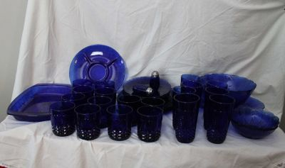 Avon Cobolt blue dinner ware over 40 pieces made in France in mint condition