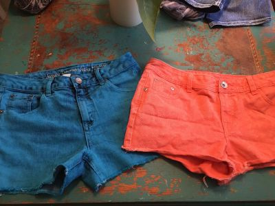 Justice colored jean shorts sz 12 1/2 $6