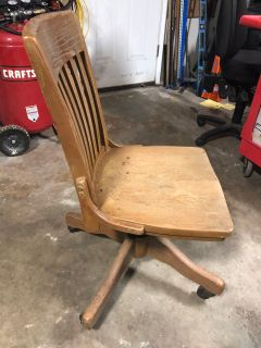 Antique solid wood bankers chair