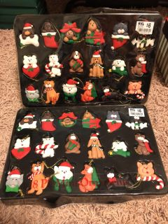 2 sets of Christmas Dogs and Cats mini Ornaments $2.00 Ea