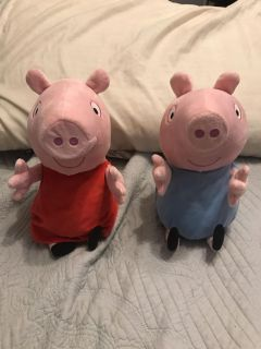 Props pig and George. Talk and giggle and fall on their backs. EUC.
