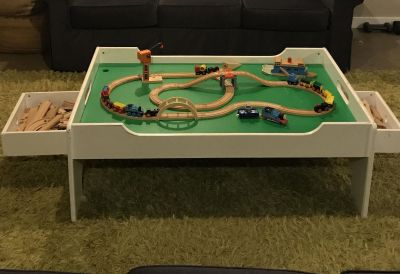 Train Table with Storage and TONS of track and Trains