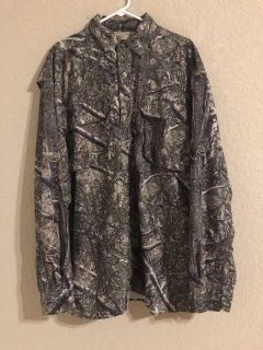 Cedar Creek Camouflage Men s Long Sleeve Button Front Vented Hunting Shirt. Perfect Condition. Size 3XL