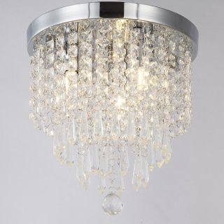 NEW: Modern Contemporary Crystal Chandeliers, 3 Lights, H10.2 W9.8 Inches