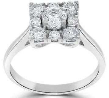 Diamond Solitaire Anniversary Ring 14Kt Solid Gold (White)