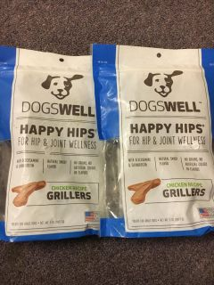 2 Bags of dogs well happy hips chicken recipe grillers with glucosamine and chondroitin