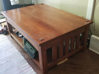 Coffee/Study table, high quality solid wood and metal.