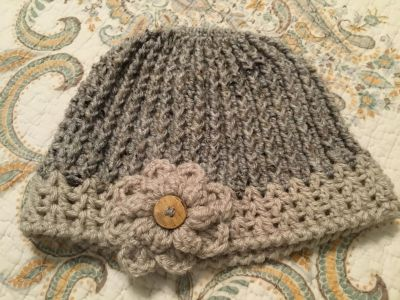 Hand Crotched Messy Bun Beanie
