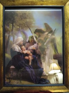 Mary, Jesus and angels hologram picture in gold frame