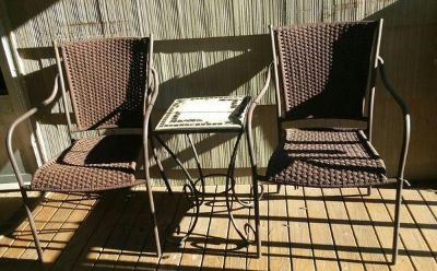 (PATIO SET) TWO CHAIRS/TABLE.....EXCELLENT CONDITION
